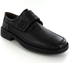 Josef Seibel Bartram Black Leather Velcro Strap Shoe