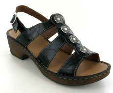 Josef Seibel Rebecca 55 Black Leather Sandal