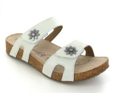 Josef Seibel Tonga 04 White Leather Sandal